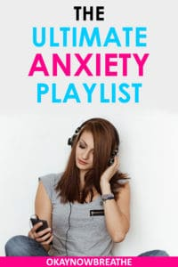 A female with a gray shirt wearing headphones and looking down at music device. Text reads The Ultimate Anxiety Playlist