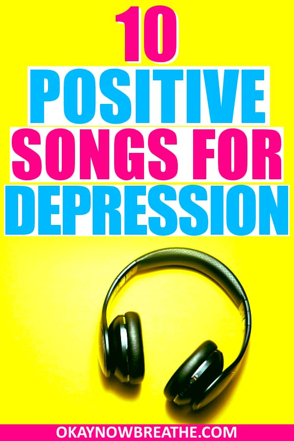 Black wireless headphone on a bright yellow background with the text 10 positive songs for depression