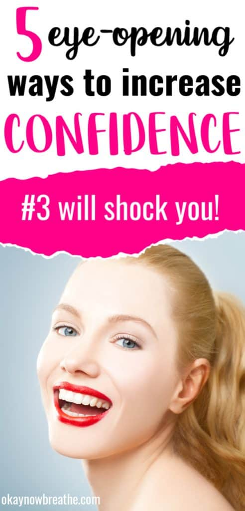 Redhead female with hair in ponytail and red lipstick. Title text says 5 eye-opening ways to increase confidence. #3 will shock you!