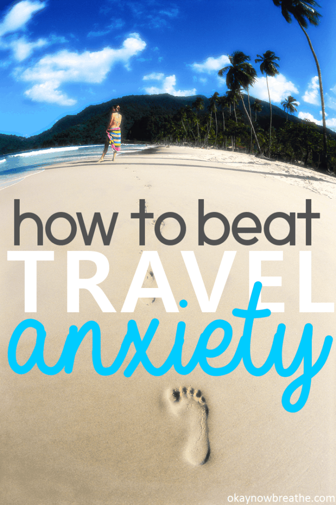 A beach with footprints in it. Overlay text says how to beat travel anxiety