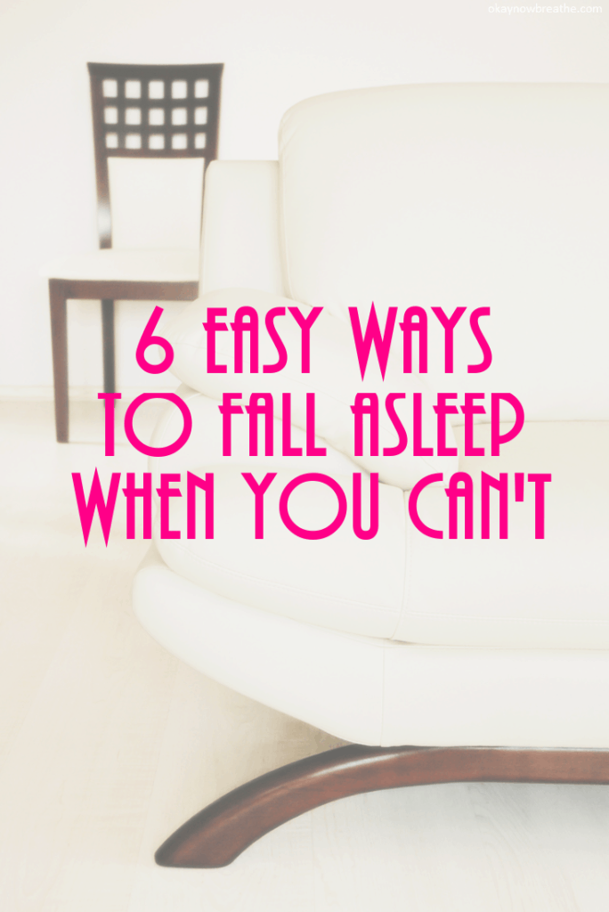 6 Easy Ways to Fall Asleep When You Can't with two white chairs in the backgroun