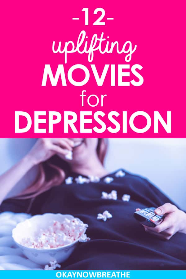 Female smiling at eating a bowl of popcorn with a remote in her hand. On hot pink background, text says 12 uplifting movies for depression