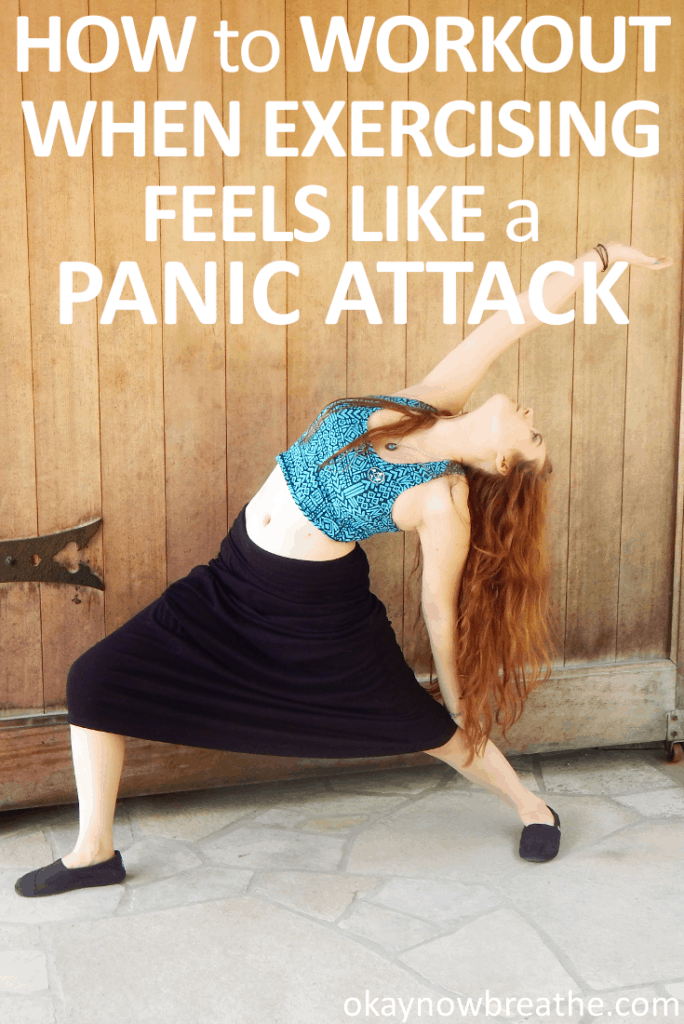 Female doing yoga against a wood background with words How to Workout When Exercising Feels Like a Panic Attack