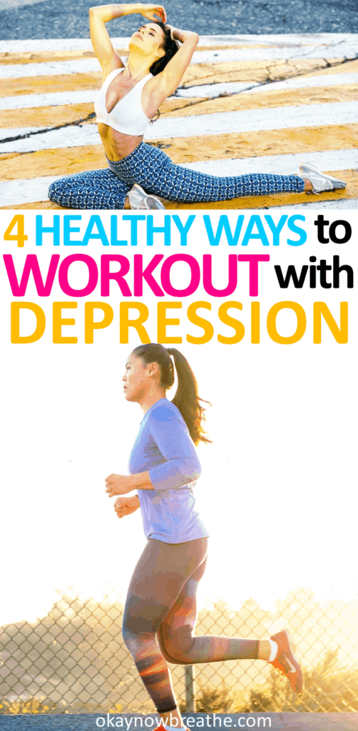 Female running with the sunset with the text 4 Healthy Ways to Workout When You Have Depression