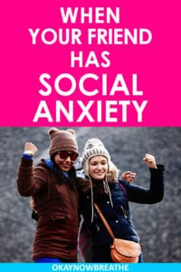 "Two young woman with coats and winter hats flexing. On hot pink background, it says ""when your friend has social anxiety"""