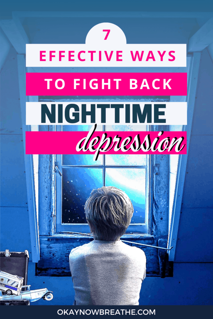Boy looking out the window at the moon. Title overlay says 7 effective ways to fight back nighttime depression