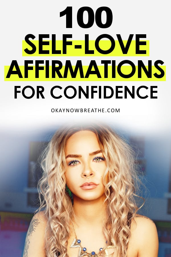 Blonde female with curly hair and statement necklace with text 100 Self-Love Affirmations for Confidence