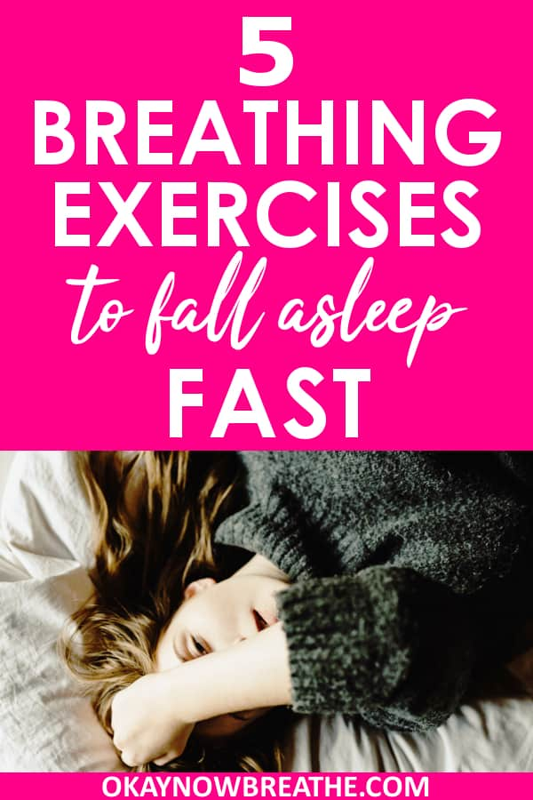 Female on bed with a hand hovered over face. On hot pink background, text says 5 breathing exercises to fall asleep fast