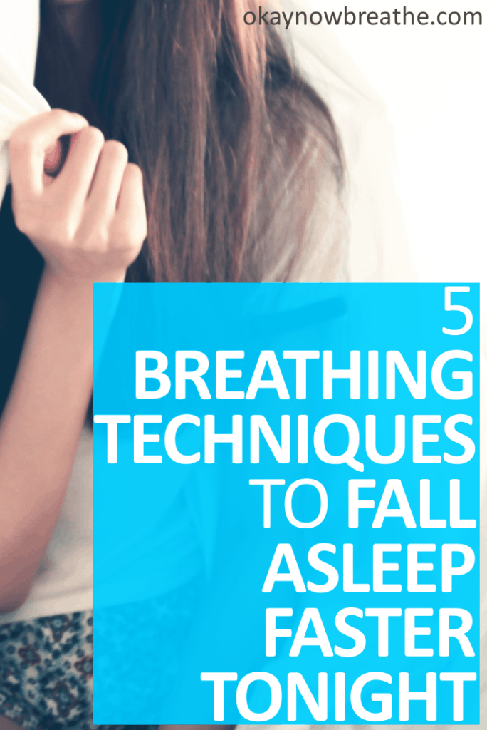 Female holding nose. On blue background it says 5 Breathing Techniques to Help You Fall Asleep Faster Tonight