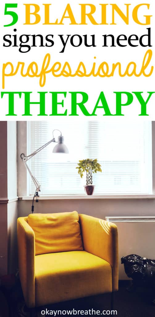 Yellow chair next to window. Text says 5 blaring signs you need professional therapy