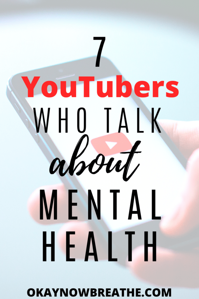Smart phone with the YouTube logo lit up. Text overlay says 7 YouTubers who talk about mental health