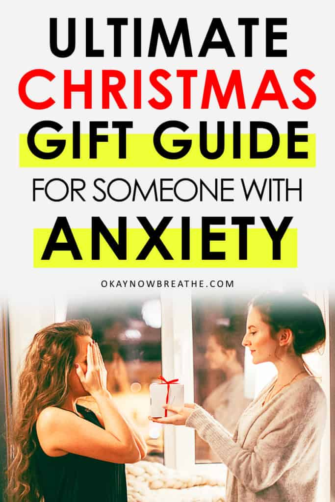 Female with bun exchanging gift with another female covering her eyes. Text says ultimate christmas gift guide for someone with anxiety