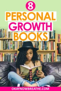 Female with a hat reading in the library with her legs crossed. Text overlay says 8 personal growth books