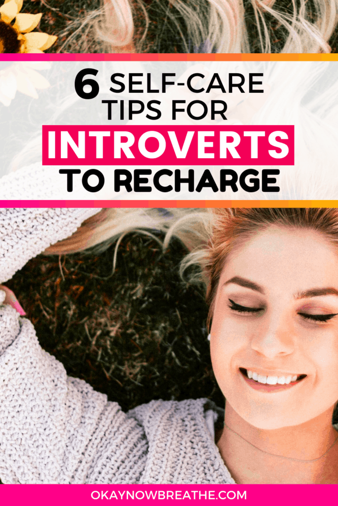 Female laying in with sunflowers. Text overlay says Self-Care for Introverts to help you recharge