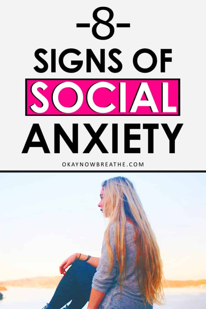 Female with long blonde hair looking at the distance. Title text says 8 signs of social anxiety