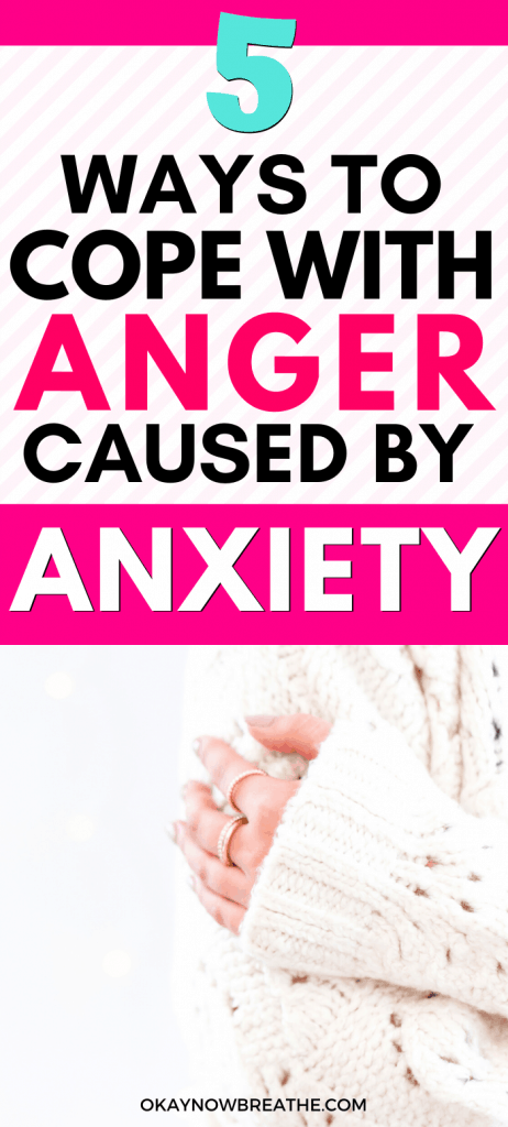 A female's hand grabbing onto her arm in a white sweater. Text reads 5 Ways to Cope with Anger Caused by Anxiety