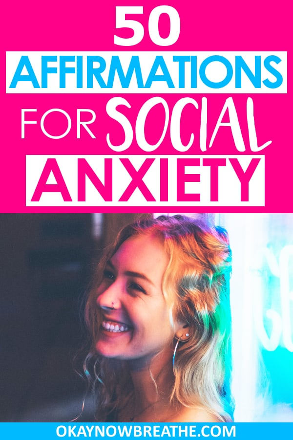 Blonde female smiling against a window. On a hot pink background, text says 50 Affirmations for Social Anxiety