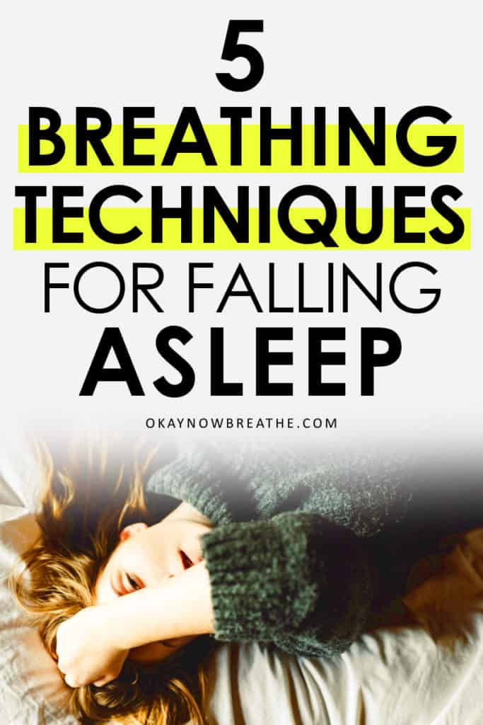Female covering forehead with hand. Text says 5 breathing techniques for falling asleep