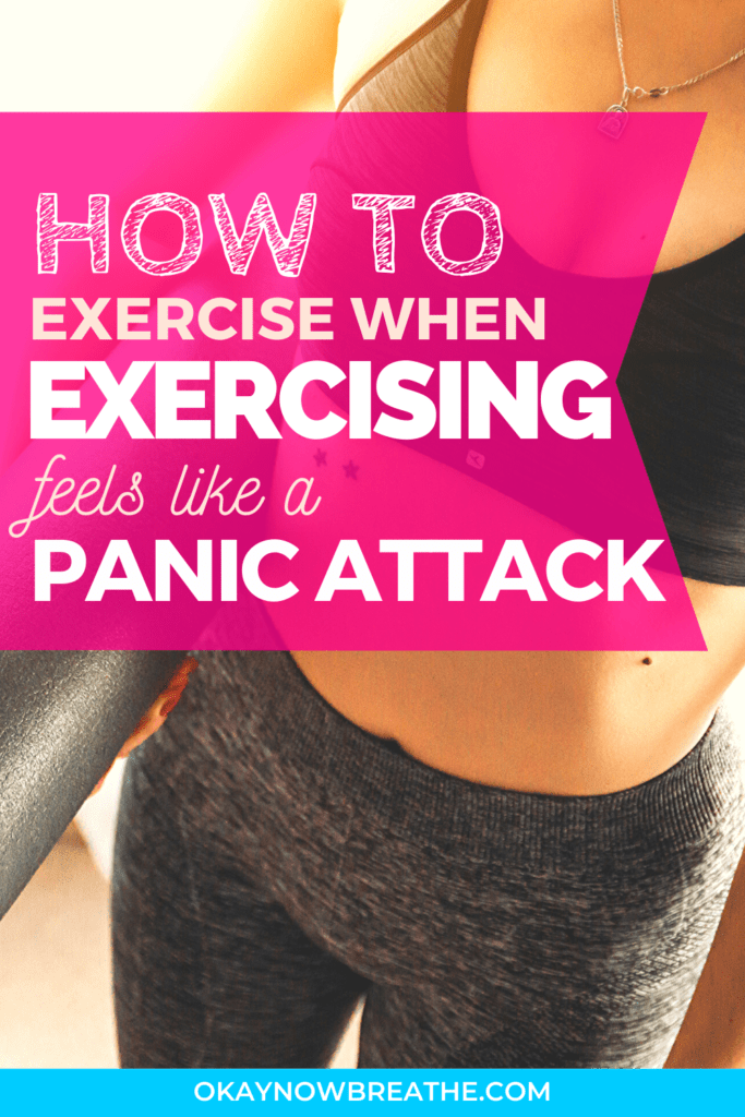The text How to Exercise When Exercising Feels Like a Panic Attack over a female in black workout clothes carrying a black yoga mat