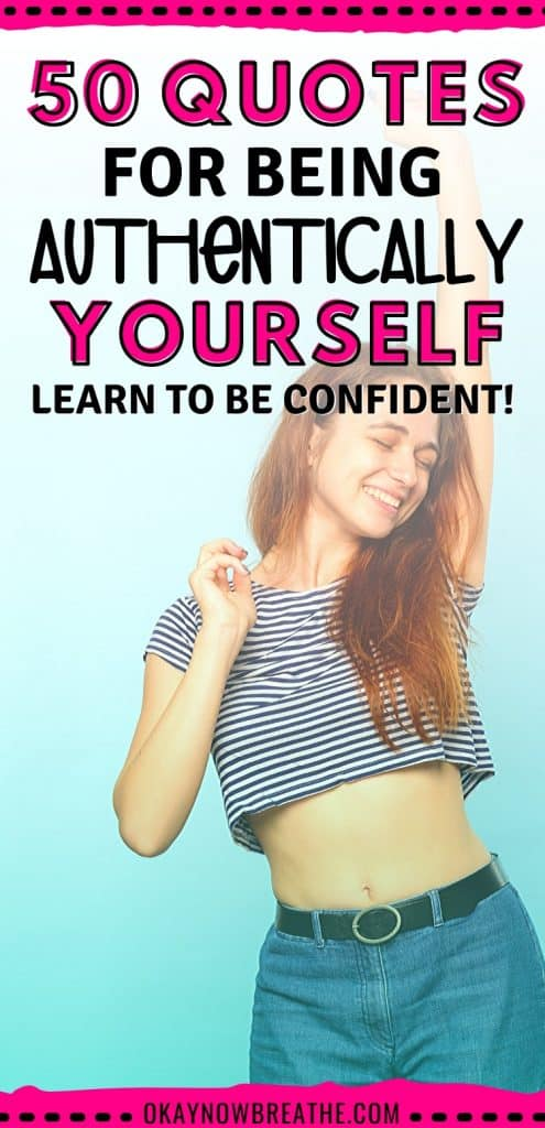 Female with striped cropped top smiling. Text overlay says 50 quotes for being authentically yourself. learn to be confident!
