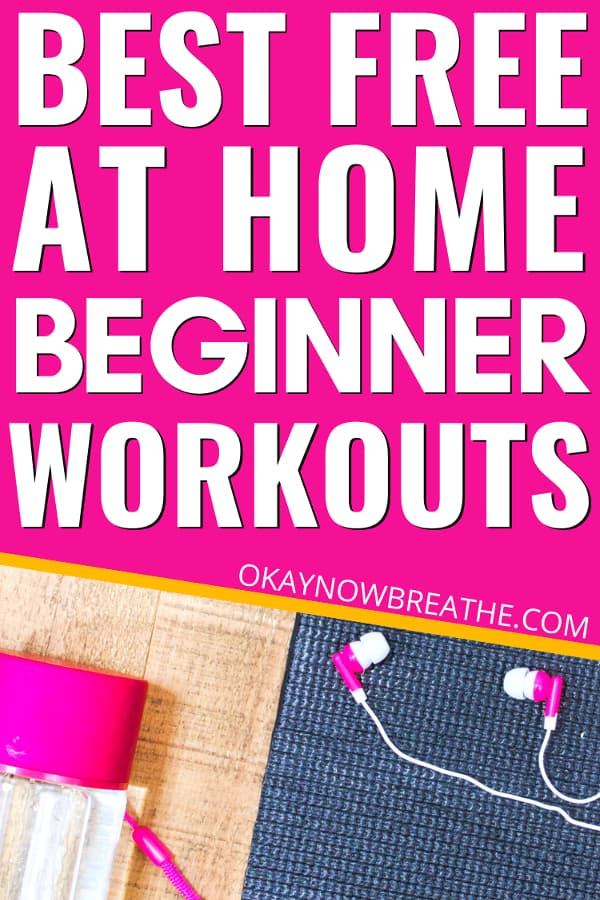Black yoga mat with a black weight and pink water bottle. Text says Best Free At-Home Beginner Workouts