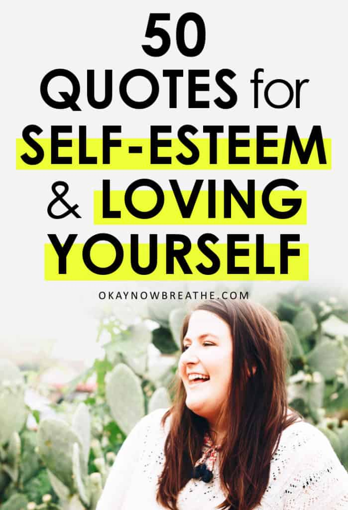 A female laughing with a white sweater with text that reads 50 Quotes for Self-Esteem and Loving Yourself