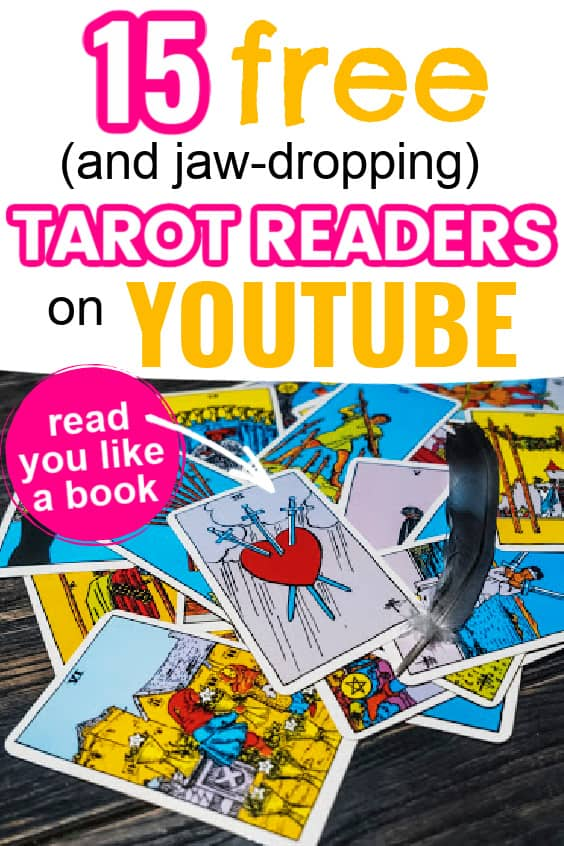 Rider Waite tarot cards spread out. Title says 15 free (and jaw-dropping) tarot readers on YouTube. Read you like a book!