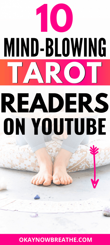 Feet next to tarot cards spread out on the floor. Title text reads 10 Mind-Blowing Tarot Readers on YouTube