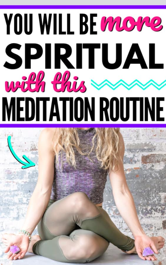 Blonde female meditating with amethyst crystals in her palms. Title says you will be more spiritual with this morning routine