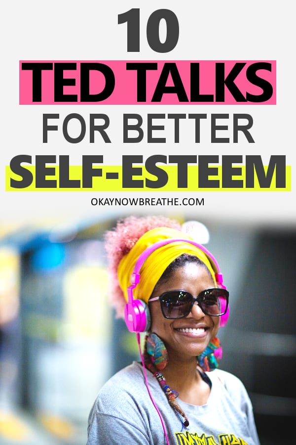 Female with pink hair, yellow headband, pink headphones, and big sunglasses with text: 10 TED Talks for better self-esteem and compassion are the perfect opportunity to forgive ourselves and let go of any internal conflict.