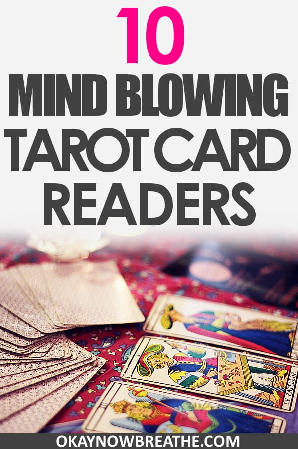 Tarot cards fanned out with the text 10 Mind Blowing Tarot Card Readers