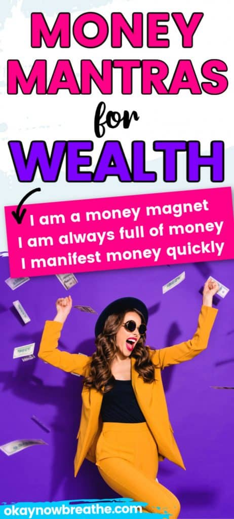 Female in yellow business outfit throwing money in the air. Text says Money Mantras for Wealth. I am a money magnet. I am always full of money. I manifest money quickly