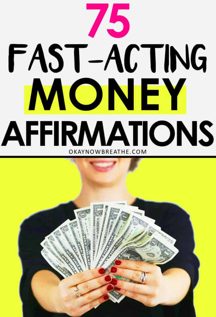 """Woman holding fanned out US dollars on a yellow background with """"75 Fast-Acting Money Affirmations"""""""