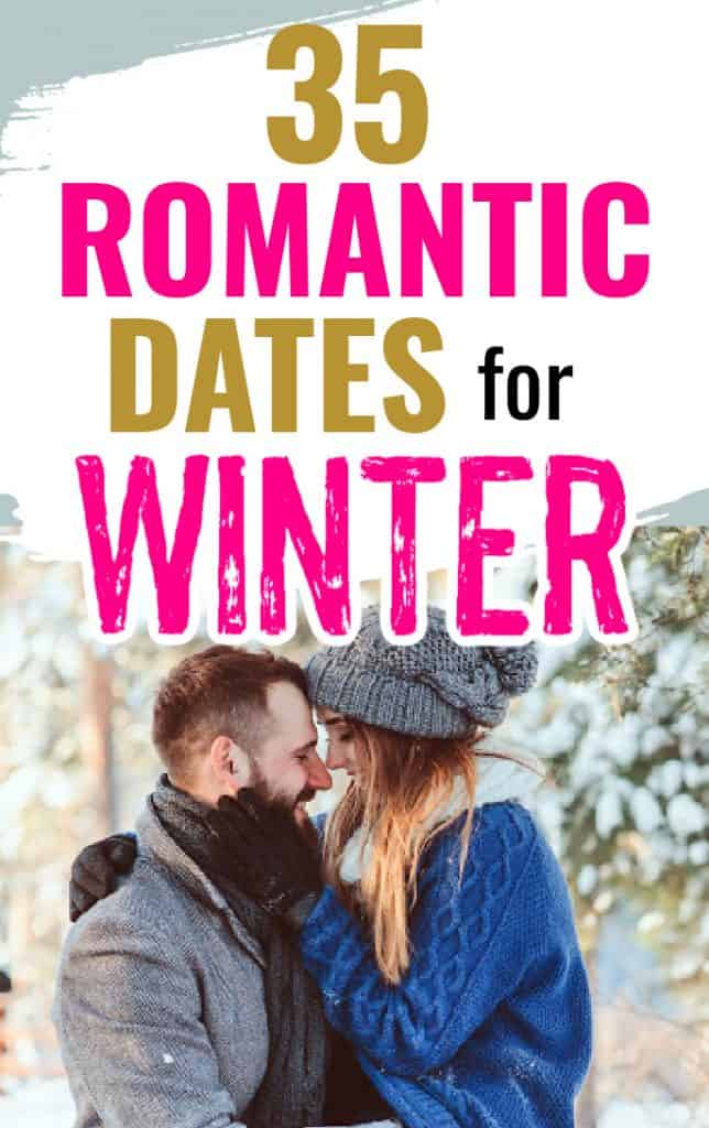 Couple about to kiss outside in the winter. Title says 35 romantic dates for winter