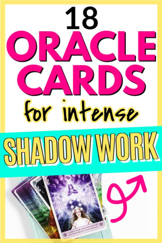 Text says 18 oracle cards for intense shadow work with image of oracle cards