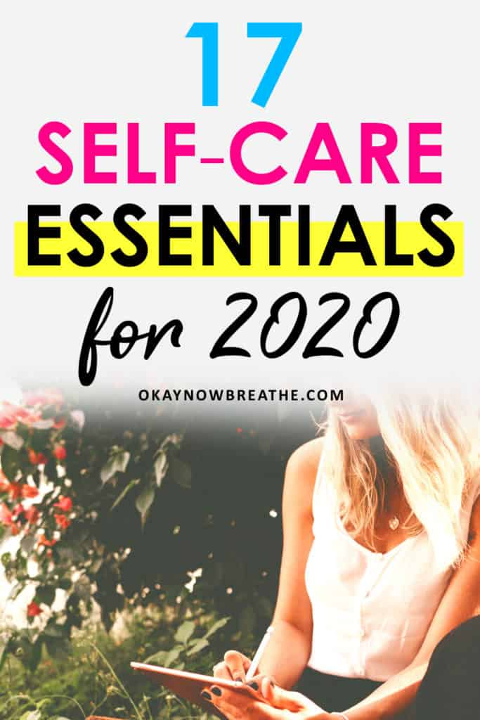 Blonde female in white tank top writing outside. Title reads 17 self-care essentials for 2020.