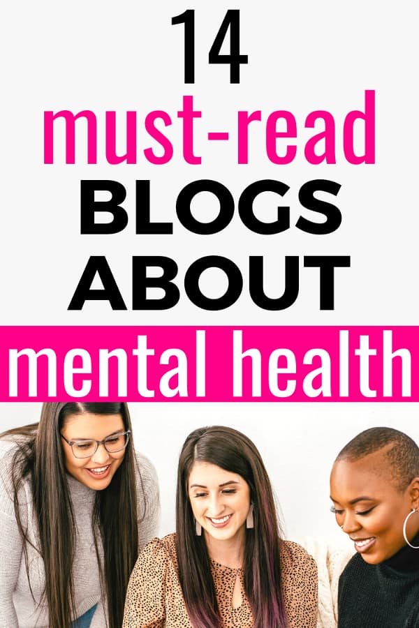 Three females smiling towards a white laptop. Text says 14 Must-Read Blogs About Mental Health