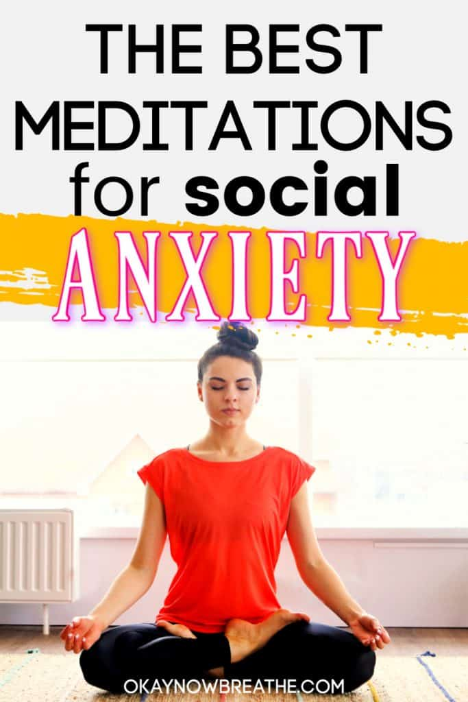 Female in red top meditating. Title text says the best meditations for social anxiety
