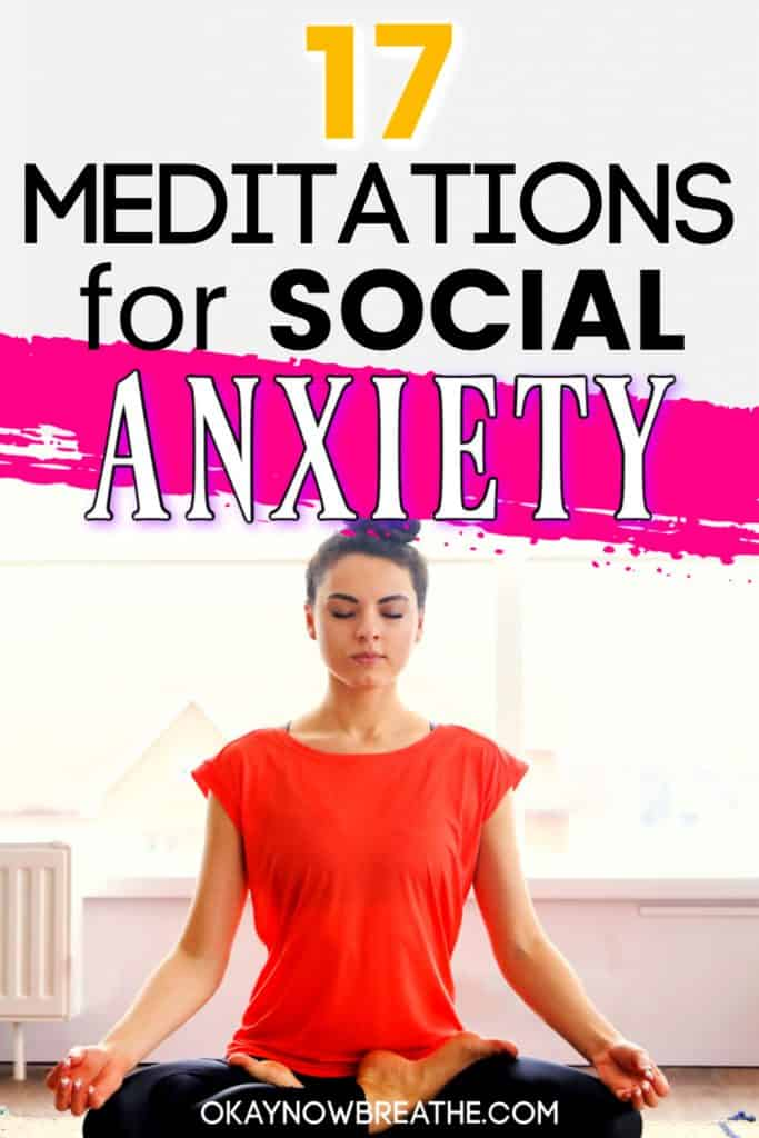 Female in red top and hair in a bun. Title text says 17 meditations for social anxiety
