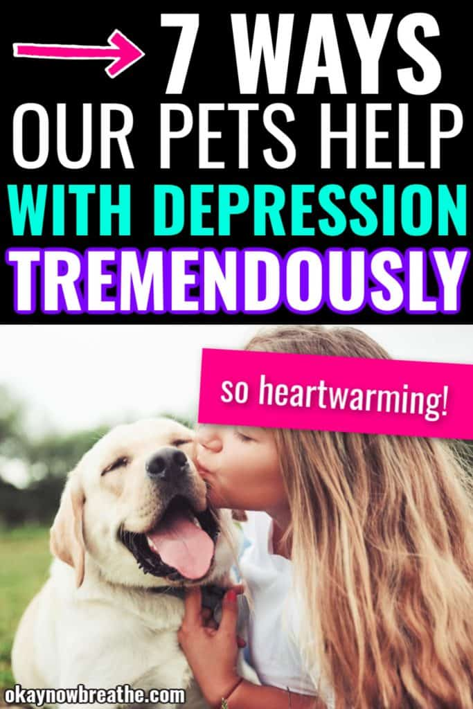 Female kissing yellow lab dog. Text says 7 ways our pets help with depression tremendously. so heartwarming!