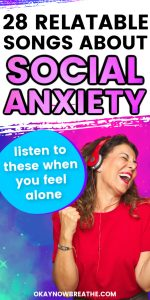 Female with red shirt and red headphones singing. Text reads 28 relatable songs about social anxiety - listen to these when you feel alone