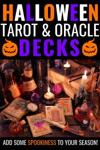Tarot cards next to candles and occult items. Title says Halloween tarot and oracle decks. add some spookiness to your season!