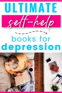 Female on couch reading a book with a cup of tea. Title says ultimate self-help books for depression